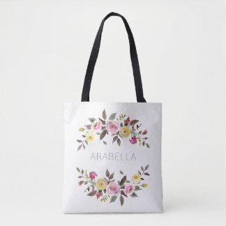 Bolsa Tote Rosas florais do Pastel da aguarela moderna | com