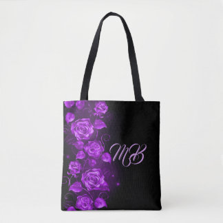 Bolsa Tote Rosas roxos na sacola monogrammed preta