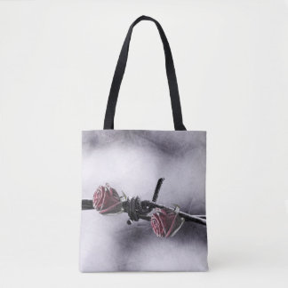 Bolsa Tote rosas vermelhas e arame farpado
