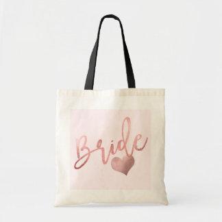 Bolsa Tote Roteiro cor-de-rosa da noiva de PixDezines/ouro do