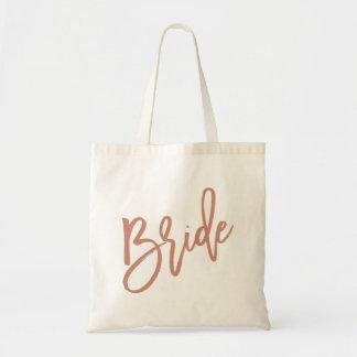 Bolsa Tote Roteiro cor-de-rosa do ouro da noiva