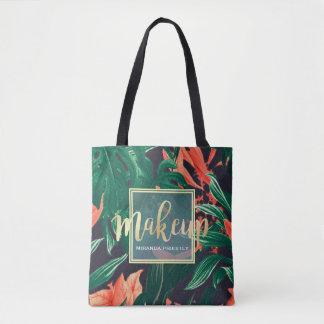 Bolsa Tote Roteiro do ouro & salão de beleza floral tropical
