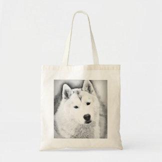Bolsa Tote Rouco Siberian branco com esboço das belas artes