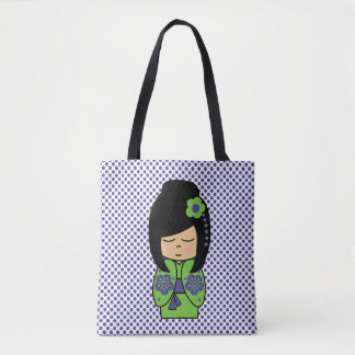Bolsa Tote Roxo do verde da boneca de Kokeshi toda sobre -