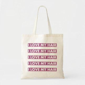 Bolsa Tote Roxo eu amo meu entalhe do texto do cabelo