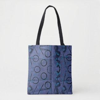 Bolsa Tote Roxo, turquesa e abstrato preto de Monoprint