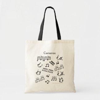 Bolsa Tote Rufando notas musicais do cilindro da sacola para