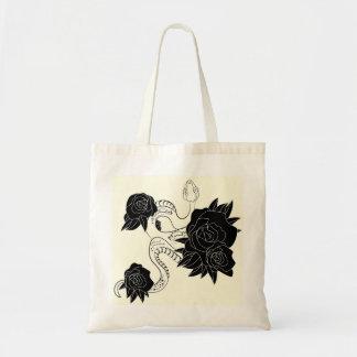 Bolsa Tote Saco à moda com cobra e impressão dos rosas