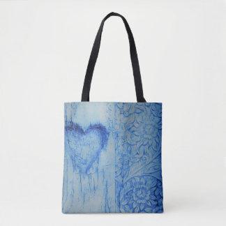 Bolsa Tote Saco azul agradável de PrintTote do coração e das