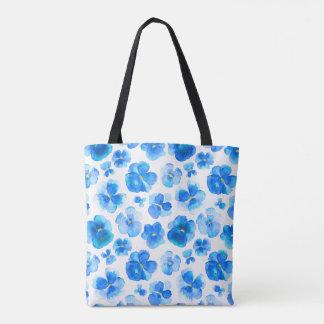 Bolsa Tote Saco azul da arte da aguarela da flor do amor