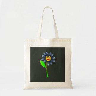 Bolsa Tote Saco azul feliz da flor