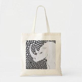 Bolsa Tote saco branco do rinoceronte