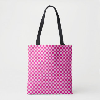 Bolsa Tote Saco Checkered do rosa e o branco