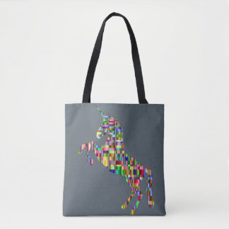Bolsa Tote saco colorido do unicórnio