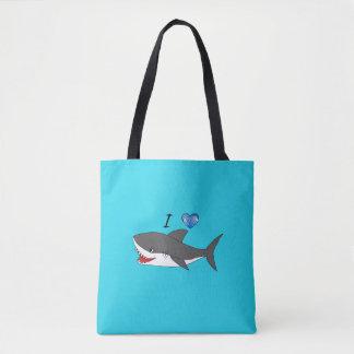 Bolsa Tote Saco com design bonito dos tubarões do amor de I