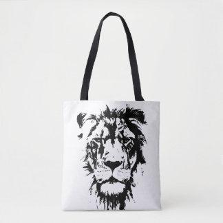 Bolsa Tote Saco com impressão preto e branco Leo