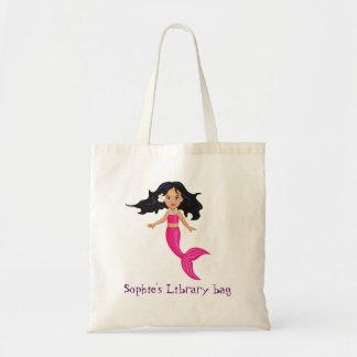 Bolsa Tote Saco cor-de-rosa da biblioteca do nome da sereia