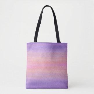 Bolsa Tote Saco cor-de-rosa e roxo da aguarela
