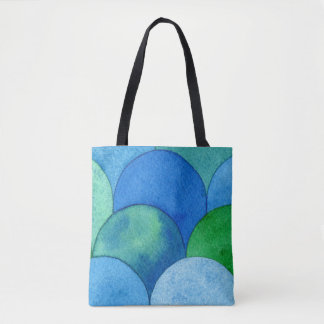 Bolsa Tote Saco da arte da aguarela - Scallops de turquesa do