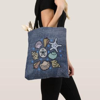 Bolsa Tote Saco da arte do Seashell dos retalhos da sarja de