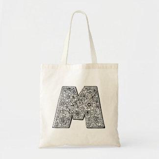 Bolsa Tote Saco da biblioteca da cor você mesmo da letra M