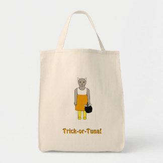 Bolsa Tote Saco da doçura ou travessura com o gato no traje
