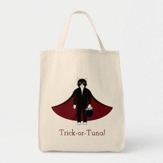 Bolsa Tote Saco da doçura ou travessura do gato do vampiro