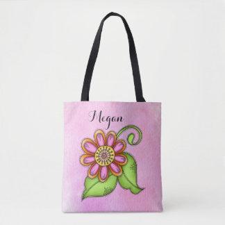 Bolsa Tote Saco da flor do Doodle da aguarela da felicidade