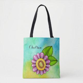 Bolsa Tote Saco da flor do Doodle da aguarela do prazer