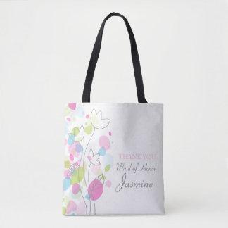Bolsa Tote Saco da madrinha de casamento da flor dos confetes