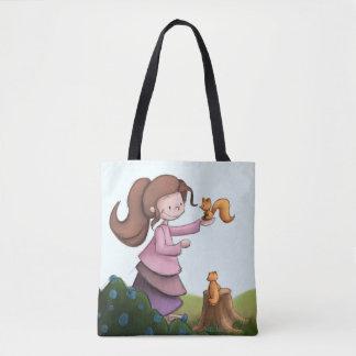 Bolsa Tote Saco da menina e do esquilo