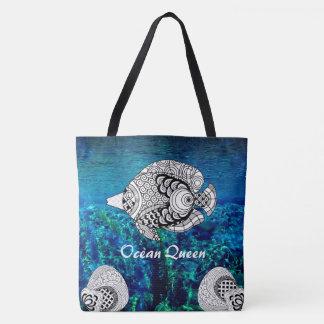 Bolsa Tote Saco de água tropical do oceano dos peixes do