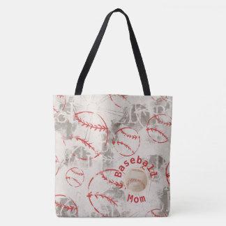 Bolsa Tote Saco do impressão do Grunge da mamã do basebol