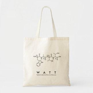 Bolsa Tote Saco do nome do peptide do watt