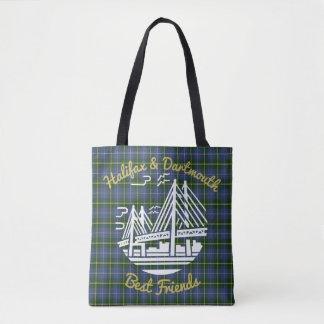 Bolsa Tote Saco do tartan dos melhores amigos de Halifax