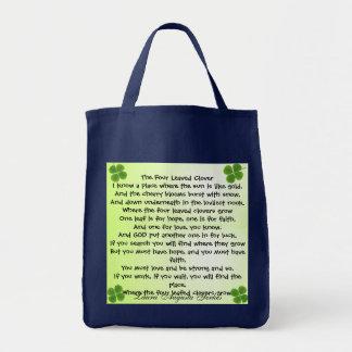 Bolsa Tote saco do trevo de quatro folhas