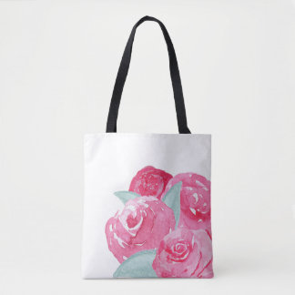 Bolsa Tote Saco dos rosas da aguarela