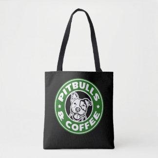 Bolsa Tote Saco engraçado da paródia de Pitbulls e de café