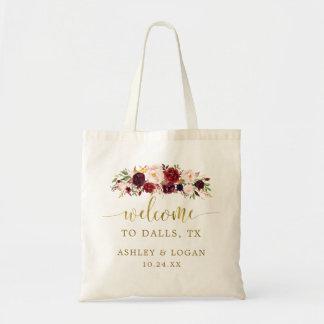 Bolsa Tote Saco floral da boa vinda do destino do casamento