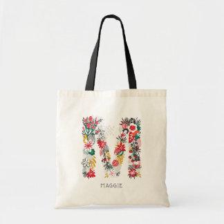 Bolsa Tote Saco floral lunático do monograma da letra da