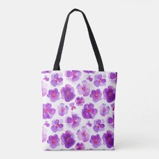 Bolsa Tote Saco floral roxo da arte da aguarela da flor do