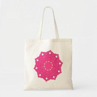 Bolsa Tote Saco geométrico da mandala - rosa quente