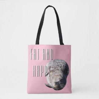 Bolsa Tote Saco gordo e feliz, selo bonito e cor cor-de-rosa