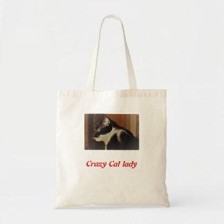 Bolsa Tote Saco louco da senhora do gato