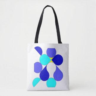 Bolsa Tote Saco motivo geométrico azul e amarelo