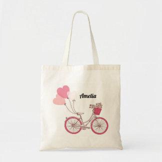 Bolsa Tote Saco personalizado balões cor-de-rosa da bicicleta