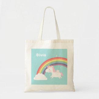 Bolsa Tote Saco personalizado do arco-íris do unicórnio do