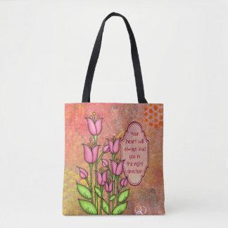 Bolsa Tote Saco positivo abençoado da flor do Doodle do