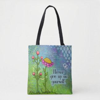 Bolsa Tote Saco positivo adorável da flor do Doodle do