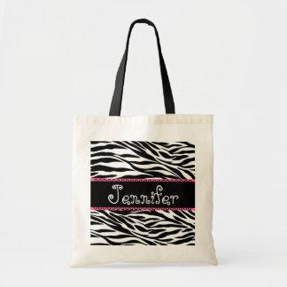 Bolsa Tote Saco preto & branco da dama de honra da zebra do